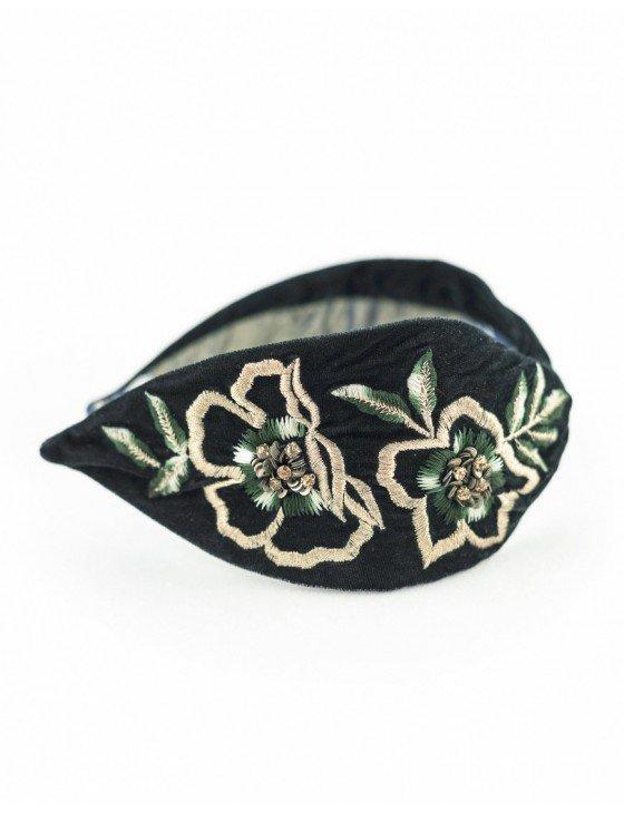 Floral Green Velvet Embroidered Headband